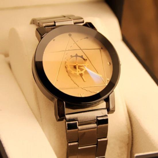 Geometric Pattern Golden Dial Steel Belt Wrist Watch W-61G |image