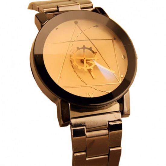 Geometric Pattern Golden Dial Steel Belt Wrist Watch W-61G |image