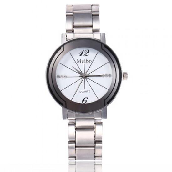 Couples Stylish Diamond Line White Dial Wrist Watches W-62W |image