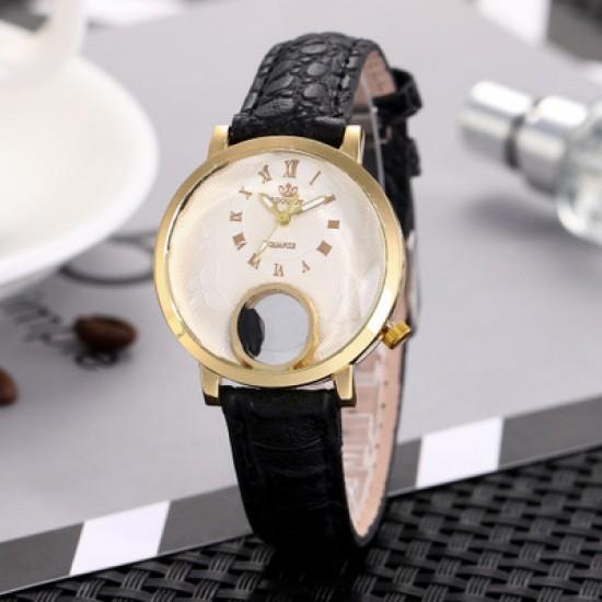 Ladies Fashion Black Leather Strap Wrist Watch W-63BK  image