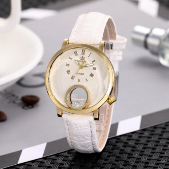 Ladies Fashion White Leather Strap Wrist Watch W-63W |image