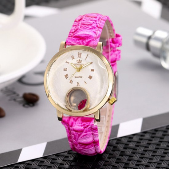 Ladies Fashion Pink Leather Strap Wrist Watch W-63PK |image
