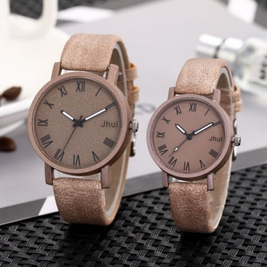 Roman Scales Simple Brown Couple Wrist Watch W-64BR |image