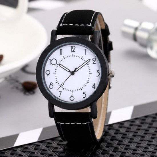 Leather Strapped Simple Black Unisex Watch W-65BK |image
