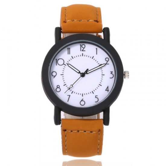 Leather Strapped Simple Brown Unisex Watch W-65BR |image