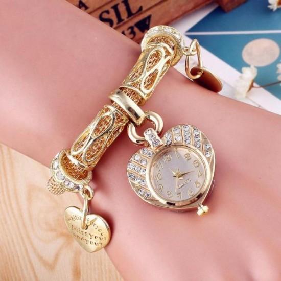 Women Gold Peach Heart Dial Bracelet Watch W-66G |image