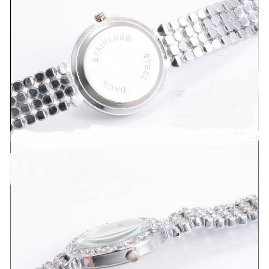 Crystal Diamond Decorated Silver Bracelet Watch W-73S |image