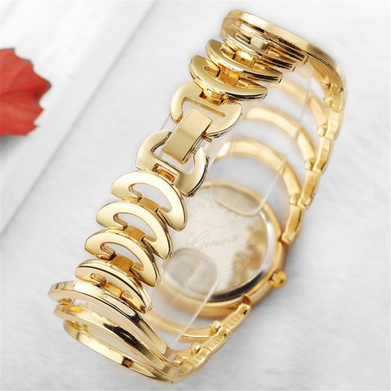 Hollow Design Gold with White Dial Bracelet Watch W-75G  image