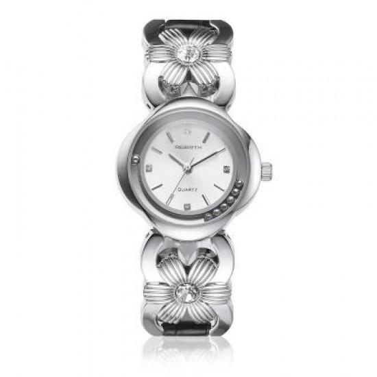Rebirth Flower Diamond Design Silver Wrist Watch W-77S |image