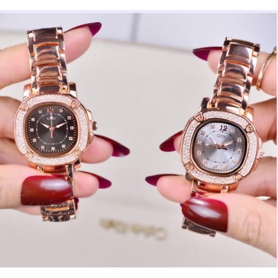High End Fashion Diamond Square Black Dial Bracelet Watch W-78BK |image