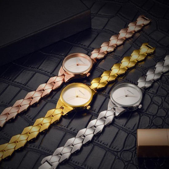 Latest Design Baosaili Gold Round-Dial Bracelet Watch W-82G |image