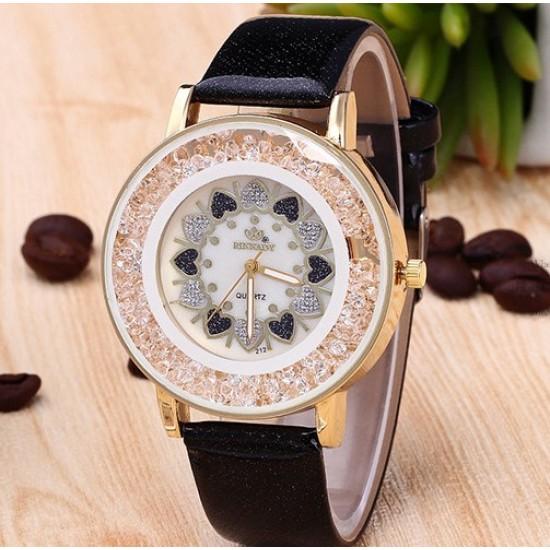 Hearts Designed Dial Black Leather Strap Bracelet Watch W-70BK |image