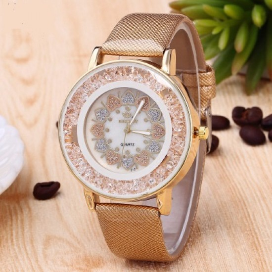 Hearts Designed Dial Brown Leather Strap Bracelet Watch W-70BR |image