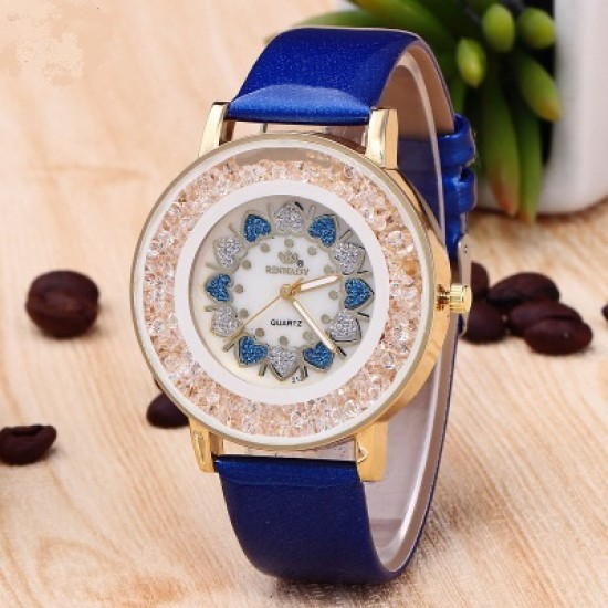 Hearts Designed Dial Blue Leather Strap Bracelet Watch W-70BL |image