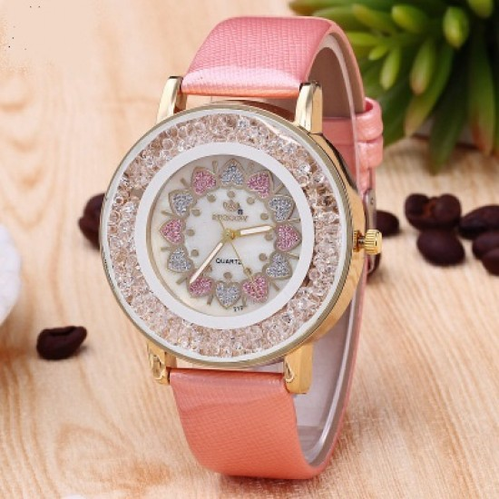 Hearts Designed Dial Pink Leather Strap Bracelet Watch W-70PK |image