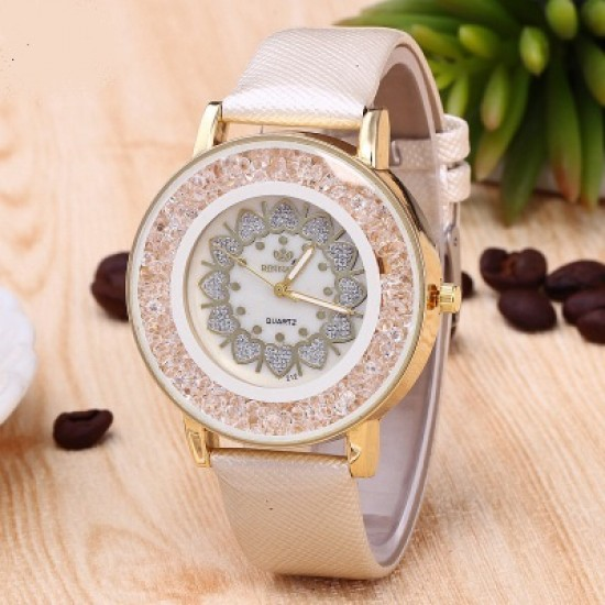 Hearts Designed Dial Cream Leather Strap Bracelet Watch W-70CR |image