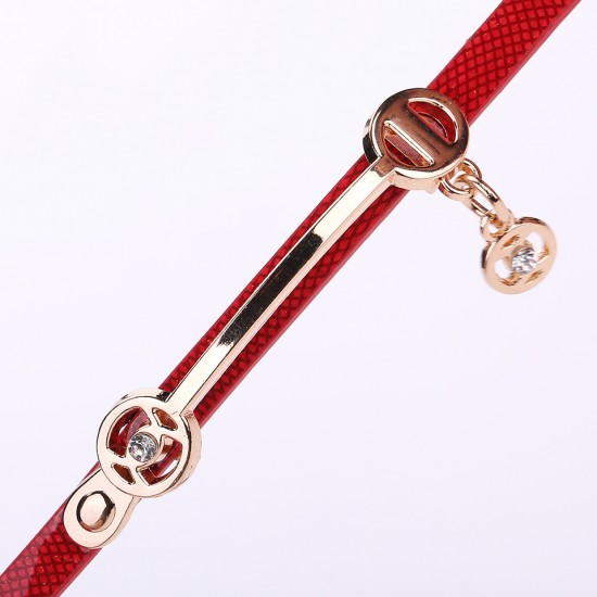 Red Strap Three Layers Pendant Bracelet Watch W-72RD |image