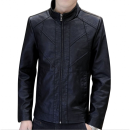 Slim and Fit Motorcycle Men's Leather Casual Jacket MJ-10BK