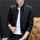 Slim and Fit Motorcycle Men's Leather Casual Jacket MJ-10BK image