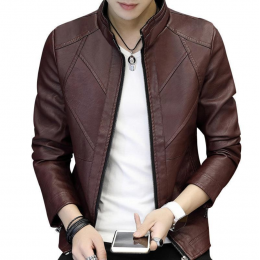 Slim and Fit Motorcycle Men's Leather Casual Jacket MJ-10BR