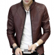 Slim and Fit Motorcycle Men's Leather Casual Jacket MJ-10BR image