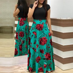 Women's Boho Patchwork Floral Short Sleeve Maxi Dress WC-202BK