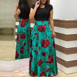 Women's Boho Patchwork Floral Short Sleeve Maxi Dress WC-202BK