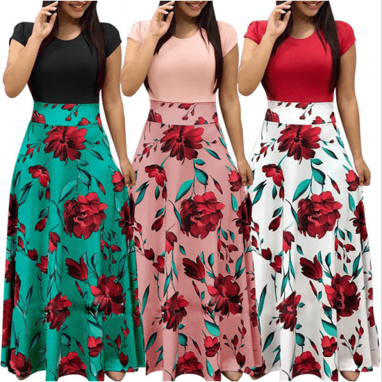 Women's Boho Patchwork Floral Short Sleeve Maxi Dress WC-202PK image