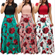 Women's Boho Patchwork Floral Short Sleeve Maxi Dress WC-202RD |image