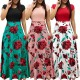 Women's Boho Patchwork Floral Short Sleeve Maxi Dress WC-202RD |image