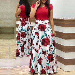 Women's Boho Patchwork Floral Short Sleeve Maxi Dress WC-202RD