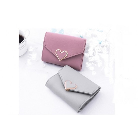 Grey Heart Patched Envelope Clutch Wallet WB-95GR |image
