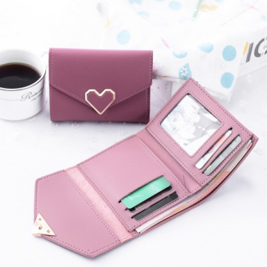 Pink Heart Patched Envelope Clutch Wallet WB-95PK |image