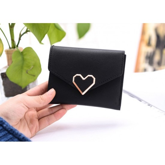 Black Heart Patched Envelope Clutch Wallet WB-95BK |image