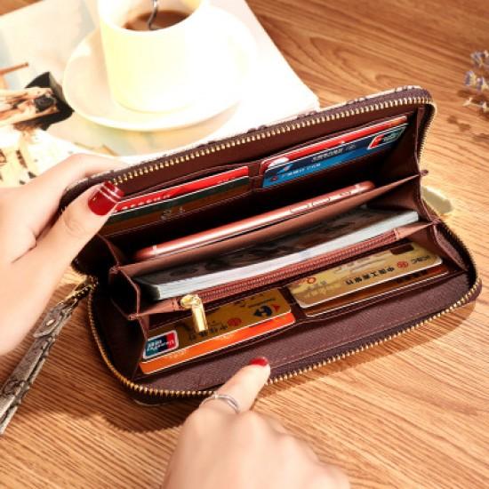 Designer Printed Contrast Women Clutch Wallet WB-94GN |image