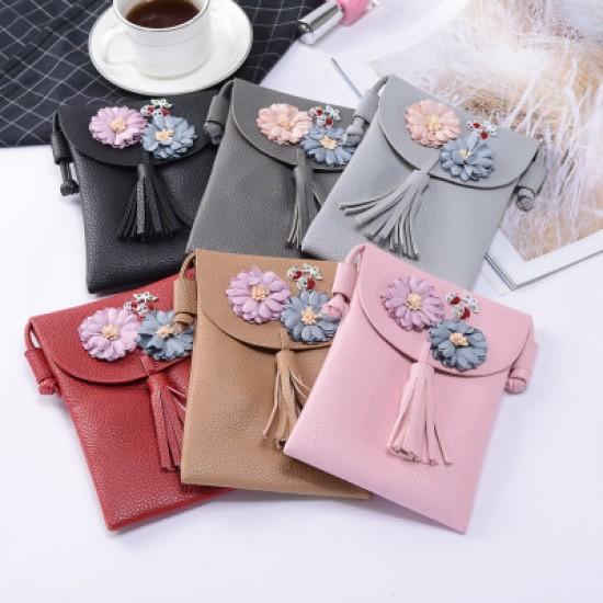 Pink Small Flower Patched Vertical Shoulder Bag WB-93PK  image