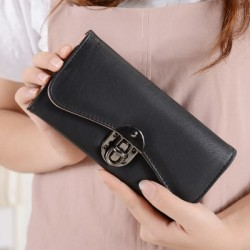Black Classic Long Section Buckle Wallet Clutch WB-90BK