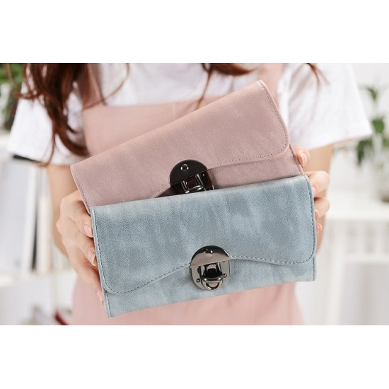 Blue Classic Long Section Buckle Wallet Clutch WB-90BL |image