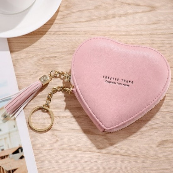 Heart Shape Women Pink Keys And Coins Wallet WB-89PK |image
