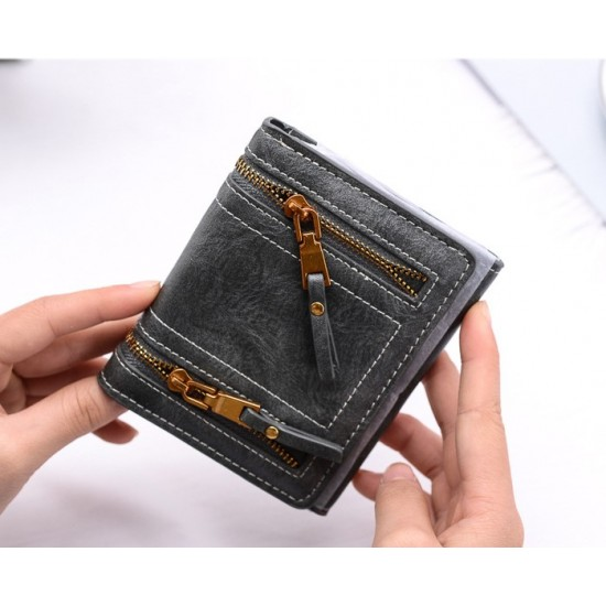 Double Zippers Multi Pockets Grey Leather Wallet WB-96GR |image