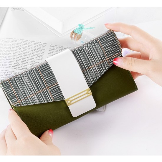 Buckle Style Multifunctional Green Pu Leather Wallet WB-97GN |image