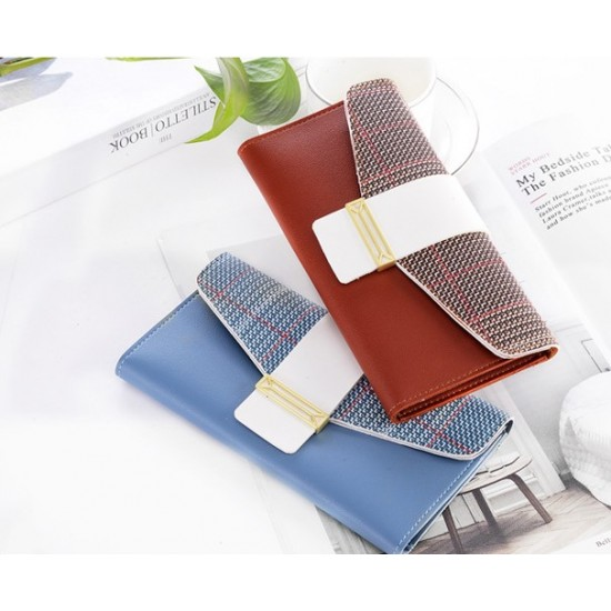 Buckle Style Multifunctional Blue Pu Leather Wallet WB-97BL  image