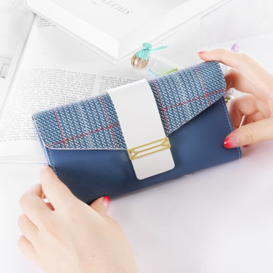 Buckle Style Multifunctional Blue Pu Leather Wallet WB-97BL |image