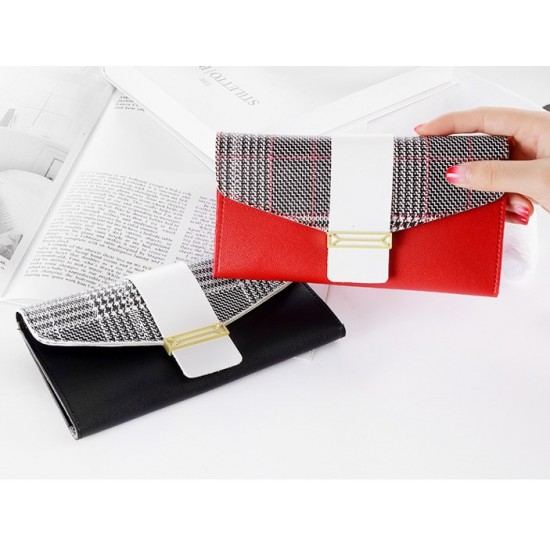 Buckle Style Multifunctional Red Pu Leather Wallet WB-97RD |image