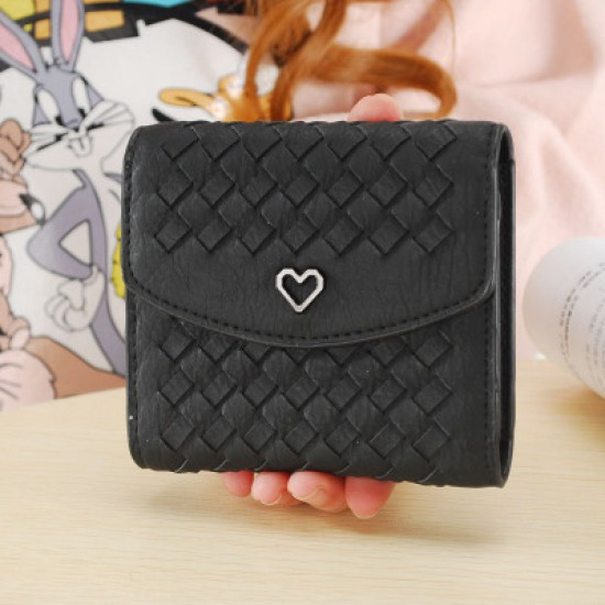 Heart with Patchwork Black Mini Handy Wallet WB-99BK |image