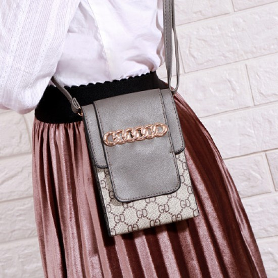 Designer Pattern Grey Flap Mini Shoulder Bag WB-100GR |image