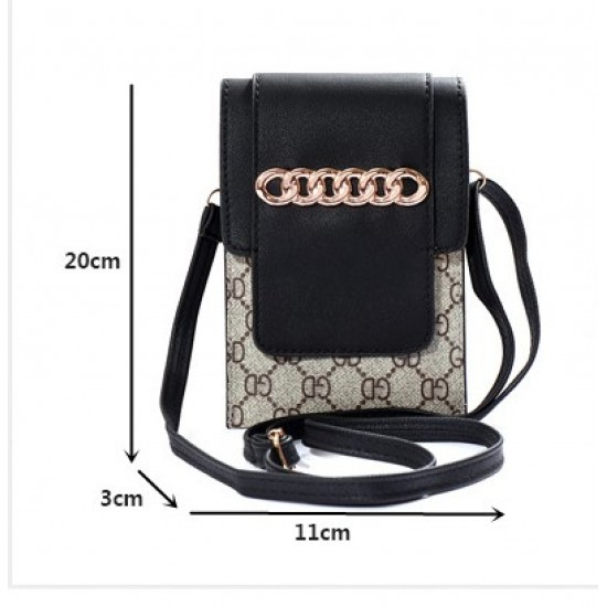 Designer Pattern Black Flap Mini Shoulder Bag WB-100BK |image