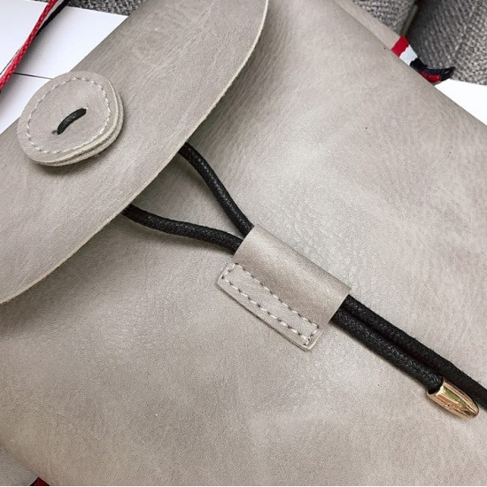 Envelope Design Grey Leather Button Shoulder Bag WB-101GR |image