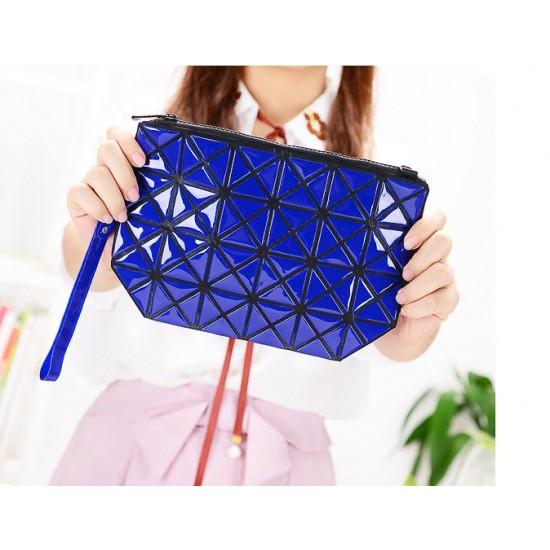 Vertical Chain Blue Patchwork Shoulder Bag WB-103BL |image
