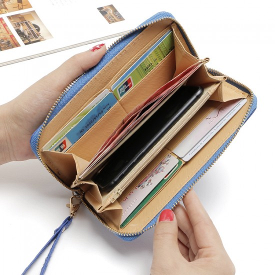 Fine Stitched Knot Blue Long Wallet Clutch WB-108BL |image